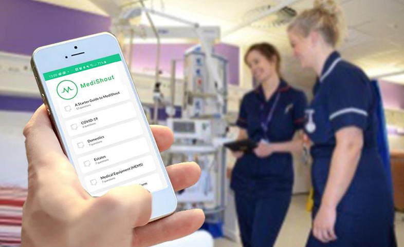 MediShout app used on hospital ward