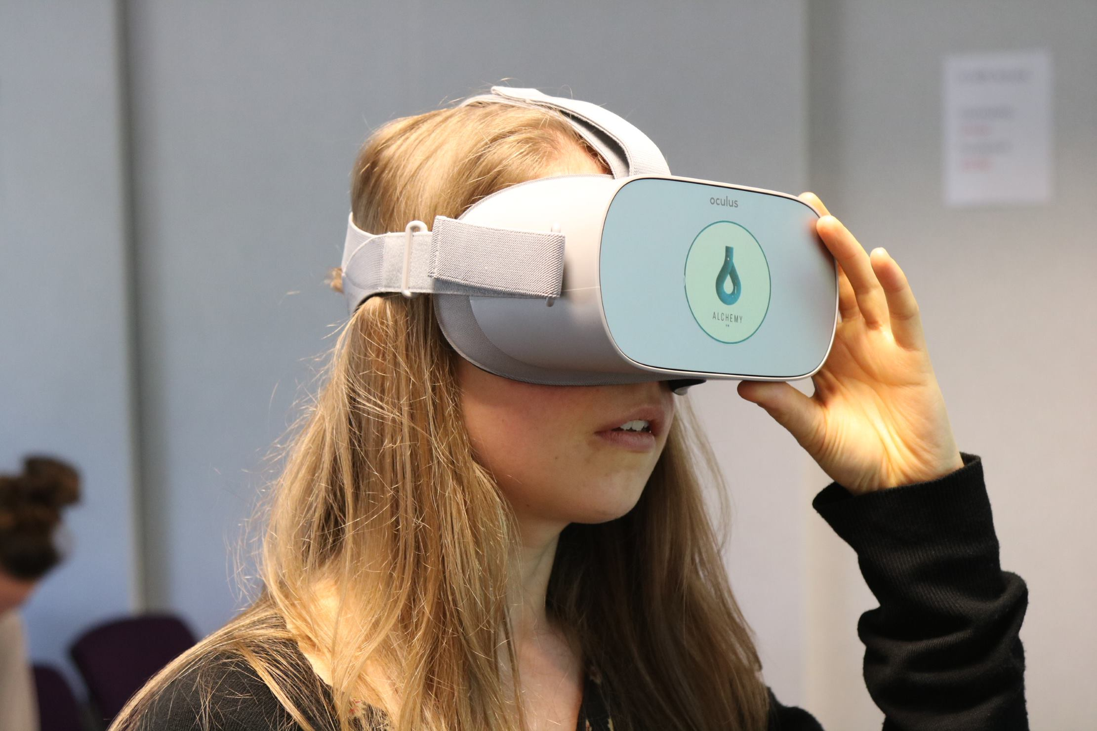 Healthcare professional wearing a virtual reality headset