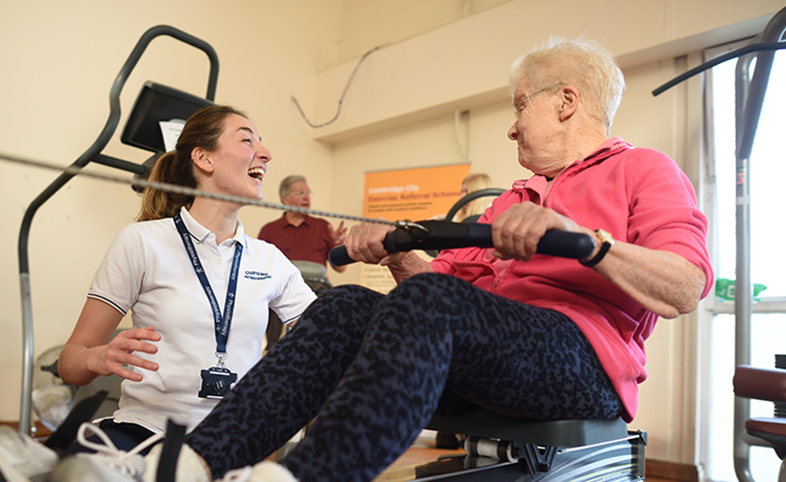 Eastern AHSN impact review lady exercises with physiotherapist
