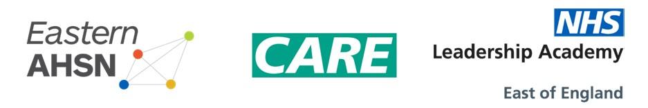Eastern AHSN, Care and NHS Leadership Academy logos